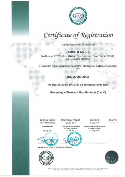 SAMCOM AS.iso22000